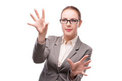 The strict serious businesswoman isolated on white Royalty Free Stock Images