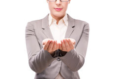 The strict serious businesswoman isolated on white Stock Image