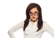 Strict teacher. On white background Royalty Free Stock Images