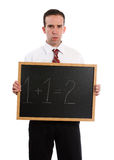 Strict Teacher. A strict teacher is holding a chalk board with 1+1=2, isolated against a white background Royalty Free Stock Photography