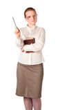 Strict teacher with big book. Isolated on white Royalty Free Stock Image