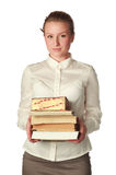 Strict teacher with books and pen Stock Image
