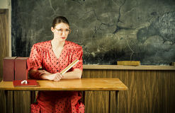 Strict teacher. Old-time school. Picture of evil teacher. Old-time school Royalty Free Stock Photos