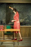 Strict teacher. Old-time school. Picture of evil teacher. Old-time school Royalty Free Stock Photo