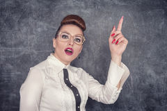 Strict teacher showing finger Stock Photography