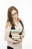 Strict teacher shows tongue Royalty Free Stock Photography