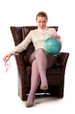 Strict teacher sitting in armchair Royalty Free Stock Photo