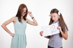 Strict teacher and student frustrated deuce Royalty Free Stock Photo