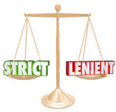 Strict Vs Lenient Words 3d Gold Scale Opposites Stock Photo