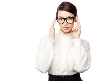 Strict woman in large glasses. Isolated on white background Stock Photos