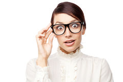 Strict woman in large glasses Stock Images