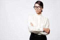 Strict woman in large glasses Royalty Free Stock Photos