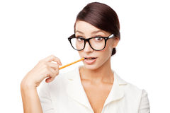 Strict woman in large glasses Stock Photo