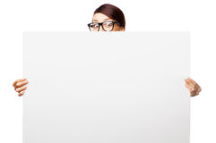 Strict woman in large glasses. Isolated on white background Royalty Free Stock Images