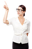 Strict woman in large glasses Stock Image