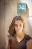 Strictly looking teenager girl Royalty Free Stock Photo