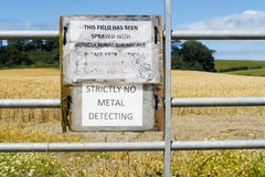 'Strictly No Metal Detecting' sign Stock Image