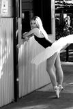 Strictly NO STANDING mono. Ballerina standing at window of shop Royalty Free Stock Images