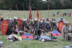 Strid av Hastings Reenactment royaltyfri foto