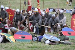 Strid av Hastings Reenactment arkivbilder