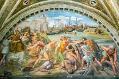 Strid av Ostia Freskomålningen av det 16th århundradet i Vaticanen M Arkivbilder