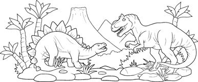 Strid av två enorma dinosaurier Royaltyfri Foto