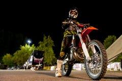 Strid för motocrossfristilluft Arkivfoto