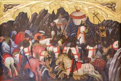 Strid mellan korsfarare och Saracens royaltyfri bild