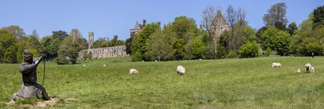 Stridabbotskloster och strid av Hastings slagfältpanorama Royaltyfria Bilder