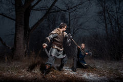 Striden mellan medeltida riddare i stilen av leken av Thro Fotografering för Bildbyråer