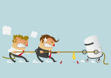 Stridighet för två affärsman med roboten i dragkampkonkurrensen som kunde precis definiera deras karriärer Tecknad filmtecken i l stock illustrationer