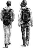 Striding students Royalty Free Stock Photo