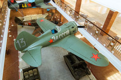 Stridkämpeflygplan av utställningen av det militära historiska museet, Ryssland, Ekaterinburg, 05 03 2016 år Royaltyfri Bild