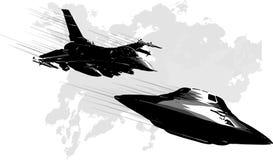 Stridstjärnautrymme från en ufo och ett flygplan stock illustrationer