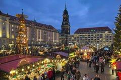 Striezelmarkt a Dresda, quello di più vecchi mercati documentati del Natale della Germania fotografie stock