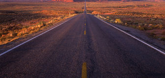 Stright Road. Highway pavement, the road is in Utah stock image