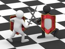 Strijd op zwaarden. Geïsoleerd 3D beeld Stock Afbeelding