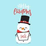 Strijd van de het karakter de speelsneeuwbal van het sneeuwmanbeeldverhaal met de kleine jongen Stock Foto's