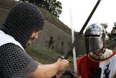 Strijd van twee ridders Royalty-vrije Stock Afbeelding