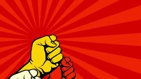 Strijd voor uw rechtenanimatie De video van opstandsvuisten stock footage