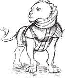 Strijder Lion Sketch Doodle Royalty-vrije Stock Afbeeldingen