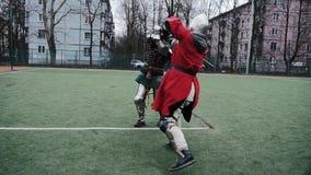 Strijder, ridder, helm, stock videobeelden