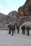 Strijders in Perta, Jordanië Stock Foto