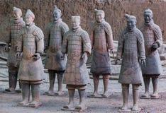 Strijders van beroemd Terracottaleger in Xian China royalty-vrije stock fotografie