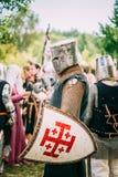 Strijdersdeelnemer van VI festival van middeleeuws Royalty-vrije Stock Fotografie