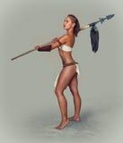 Strijdersmeisje oud met spear Stock Afbeelding