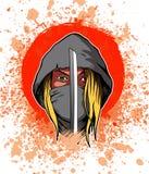 Strijdersvrouw in de kap en met het zwaard, beeld Stock Afbeelding