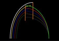 Strijkt de kleuren abstracte samenstelling met een kleur op een zwarte Royalty-vrije Stock Fotografie