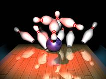 Strike. A bowling ball hits ten pins, making a strike Stock Images
