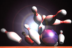 Strike. Close up to a bowling ball hitting ten pins, making a strike Stock Photos